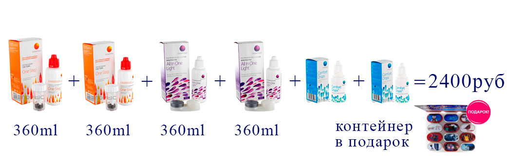 OneStep (360 ml)- 2 шт. + ALL In One Light (360 ml) - 2 шт. + Comfort Drops (20 ml) - 2 шт.